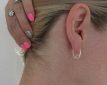 Tiny Silver Hoop Earrings Sleepers Oval Hoops Small Hoops