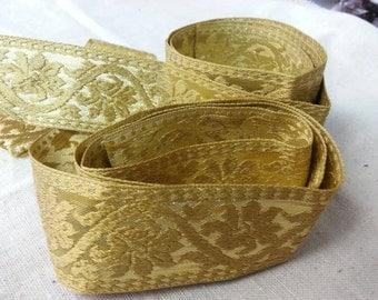 Vintage 1960s jacquard gold floral ribbon - 6 feet