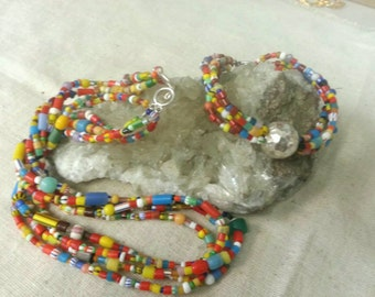 Vintage handmade set with African trade beads - necklace and bracelet