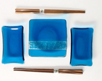 Sushi Set - Fused Glass - Glass Plates - Bridal Shower Gift