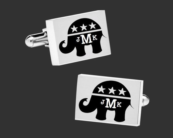 Republican Gift | Republican Gifts | Republican Cuff Links | Election 2017 | Elephant Cuff Links | Personalized Gifts | Gift for Democrat