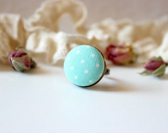 Mint Polka Ring, Mint Green Ring, Fabric Button Ring, Pastel Green Ring, Polka Dot Ring,Green Polka ring,Retro Dainty Ring,Small Simple Ring