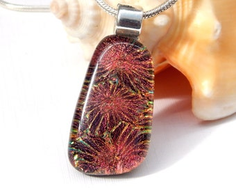 Golden Brown Dichroic Glass Jewelry - Fused Glass Pendant - Copper Art Glass Necklace
