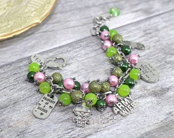 Pink in His World of Camo Army Wife Charm Bracelet in Stainless Steel | Army Girlfriend Bracelet | US Army Jewelry  | Milso Jewelry
