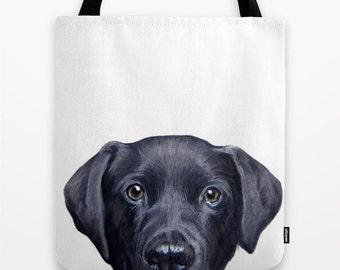 Tote bag Dog, Labrador original painting print illustration print tote bag, print on both sides