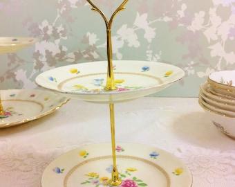 New Chelsea 2 Tier Mini Cake Stand, Creamy Lemon with Pretty Flowers