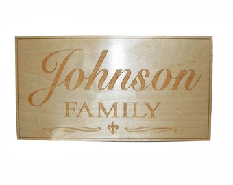 """Family Name Plaque With Fluer De Lis Wood Personalize Anniversary Wedding Engraved Sign 9"""" X 15"""" Inch Wide"""
