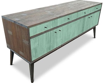 Modern Mid Century Retro Scandinavian Teal Jade Mint Green Sideboard / Buffet / Entertainment Unit - Solid Timber, Recycled Wood