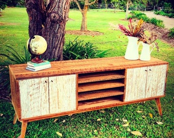 Flash Sale! Eco Recycled Solid TImber Modern Mid Century Retro Rustic Wooden Media Unit / TV Stand Entertainment Unit With Shelves in White