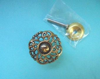 Vintage French Provincial Dresser Drawer Furniture Knob 1 1/2 Inches Brass Ornate Design Restoration Hardware Shabby Chic See Quantity