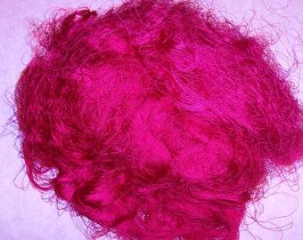 1+ ounces, dark pink sari silk waste, spinning fiber, art yarn, silk paper, needle felting