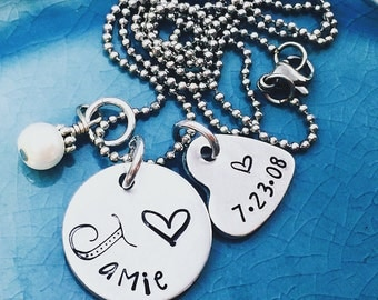 Hand Stamped, Personalized Jewelry, Gifts for Her, Birthstone Jewelry, Name Jewelry Birthstone Jewelry, Personalized, Heart Necklace,Stamped