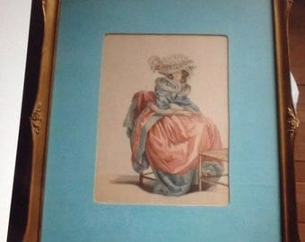 Beautiful Women fashion print hand painted framed 1800's