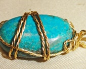 Chyrsocolla Pendant, Natural Stone Pendant, Wire Wrapped Pendant,