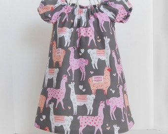 LAST ONE Size 2T only Toddler Dress Peasant Style in Pink Gray and Peach Llama and Hearts Designer Print