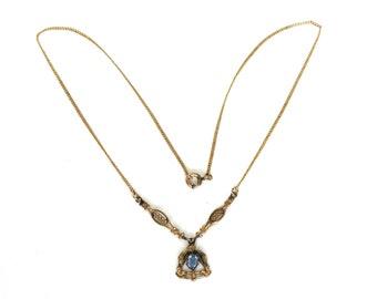 Antique Art Nouveau Lavalier Necklace Blue Rhinesetone Drop Pendant Gold Filled Chain Downton Abbey Jewelry Lariat Y Necklace