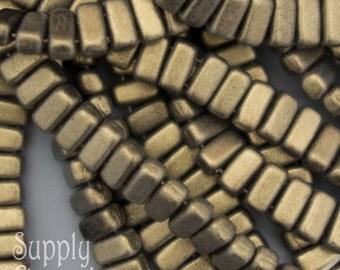 CzechMates Two Hole Brick Beads, 50 beads, 3x6mm Czech Brick Bead - Metallic Suede Gold Brick, 3227, Suede Gold Brick Bead