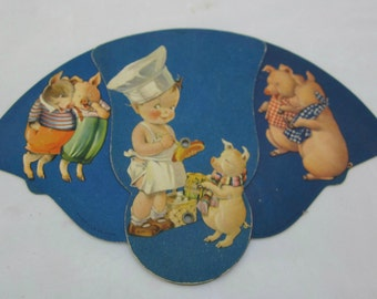 vintage paper fan three little pigs advertising fan Knoxville Tennessee