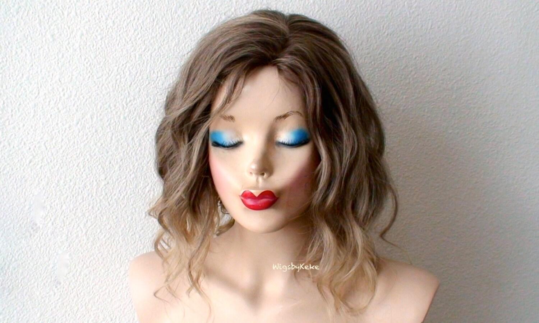 Ombre Wig. Brown / Blonde Ombre Wig. Short Wig. Beach Waves