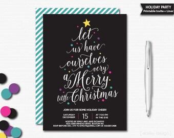 Christmas Invitation Printable Holiday Invitation Christmas Party Holiday Party Christmas Cheer Invitation Black Calligraphy Digital Invite