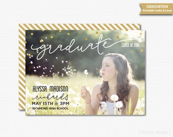 Photo Graduation Announcement Printable Graduation Invitation Grad Photo Card Grad Announcement Modern Grad Invitation Graduation Party