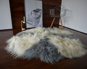 Amazing Genuine Natural Icelandic Sheepskin Rug - XXL Round Shape - Soft Silky Silver, Grey, Ash, Creamy White Mix Long Wool - RI 7
