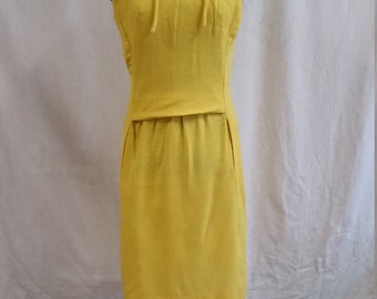 1960's golden yellow springtime dress