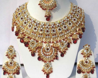 Indian Jewellery Set Handmade Gold Plated Alloy and Rhinestones Red & Clear Stones - AQ-18