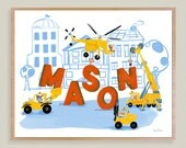 """Personalized Boy's Construction Site Wooden Art Plaque 10""""x8"""" Childs Name Formed With Construction Vehicles Kids Keepsake Boys Room  Gift"""