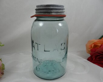 1900s Atlas Strong Shoulder 1 Quart Aqua Blue Mason Jar Canning Jar with Zinc Lid - Wedding Decor
