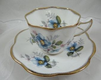 Vintage English Bone China Rosina Blue Teacup and Saucer - English Tea cup