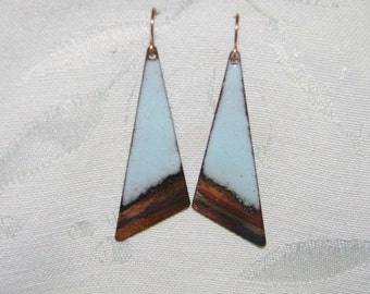Torch fired copper enamel and flame painted copper earrings - light blue enamel