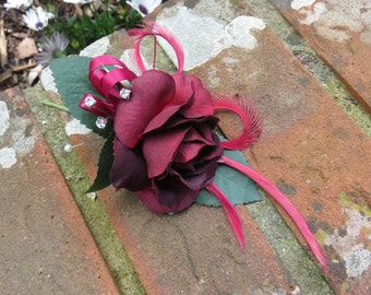 Flower Corsage, Burgundy Rose, Weddings, Proms and Events.