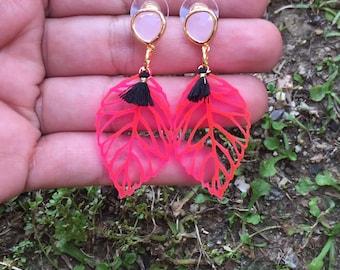 Laser cut neon pink acrylic earrings