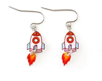 Rocket Earrings, Rocket Jewelry, Rocket Jewellery, Astronaut Earrings, Space Earrings, Astronaut Jewelry, Space Jewelry, Shrink Plastic