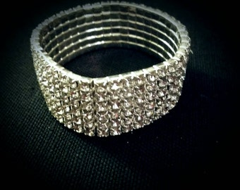 After Life Accessories Vintage Stretch Clear Rhinestones  Bracelet