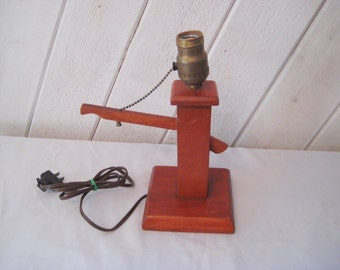 Vintage wood lamp, wood pedestal table lamp, mid century, 50s 60s, country farmhouse decor, primitive lamp, pull chain switch