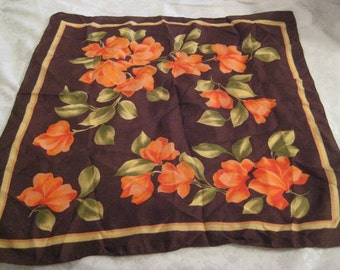 Brown floral square neck scarf,  vintage Italian scarf, fall autumn colors, gift for her, 1229