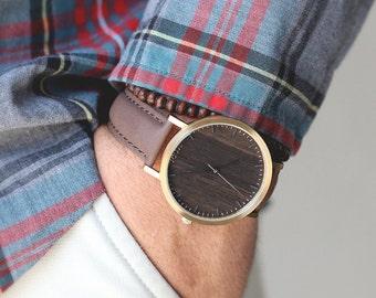 Wood Watch, Walnut Wood Gold Watch, Unisex Wood Watch Leather Strap - HELM-WG
