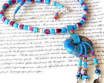 Turquoise Feathers Necklace Bohemian Jewelry Tribal Jewelry
