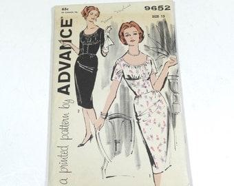 50s Sheath Dress Empire Waistline Sheath - Advance 9652 - Size 12 - 1950s Pattern Vintage 50s Dress Pattern