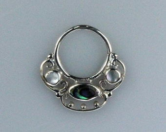 Silver Plated Brass Septum Ring with Mother of Pearl Shell and Abalone Shell Inlay (brass septum 007)