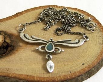 Vintage Silver and Semi Precious Necklace, Art Nouveau Necklace, Silver and Green Necklace, Organic Necklace