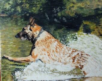 """Oil painting """"Jeff"""" -pet portrait,animal art"""