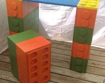 Kids lego desk w/bench storage seat