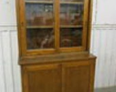 Antique Industrial 2 Piece Oak Stepback Cabinet School Science Lab Cabinet
