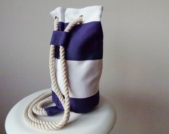 Dinky Duffle in alabaster and azure stripe