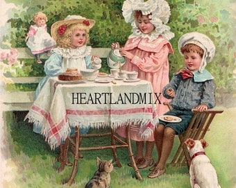 Antique Victorian Childrens Tea Party in the Garden Digital Image Printable Wall Art Download