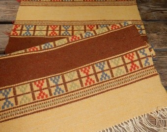 Beautiful long swedish hand woven runner in lovely colours and an old pattern / 1930s