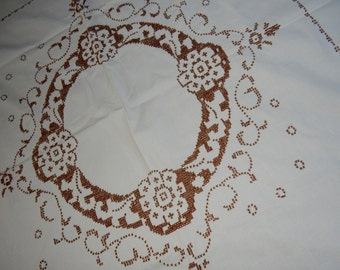 Swedish lovely hand embroidered table cloth from the 1960s / retro / vintage/cross stitch